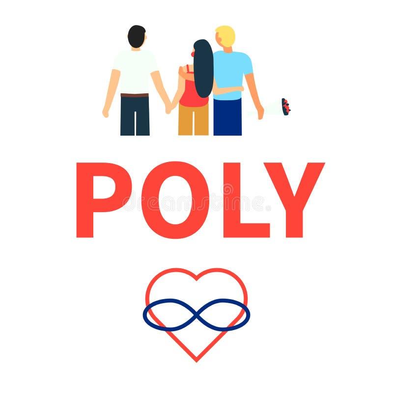 Плоская иллюстрация любов партнеров polyamorous Открытое романтичное и сексуальные отношения Люди отношения любя Символы  иллюстрация штока
