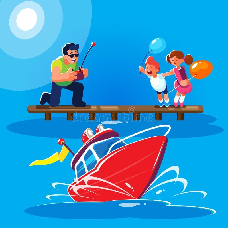 Плоская иллюстрация стиля отца с детьми управляет красной контролируемой радио моделью современного powerboat от иллюстрация штока
