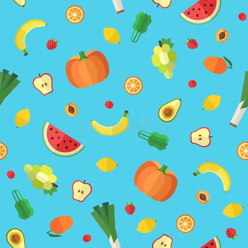 Плоская картина вектора овощей и плодоовощей безшовная Часть первая иллюстрация штока