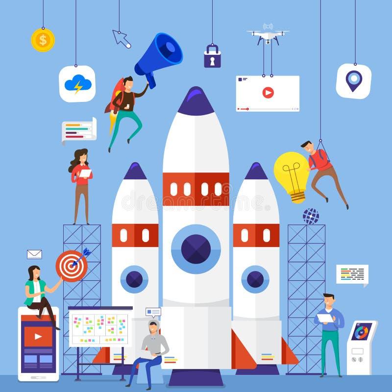 Плоская команда идеи проекта работая для строить wi startup компании бесплатная иллюстрация