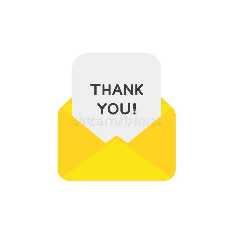 Плоская концепция вектора дизайна открытого конверта с спасибо дальше PA иллюстрация вектора