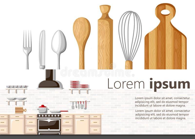 Плоская концепция кухни дизайна Предпосылка оборудования кухни также вектор иллюстрации притяжки corel Интерьер кухни с micro хол иллюстрация вектора