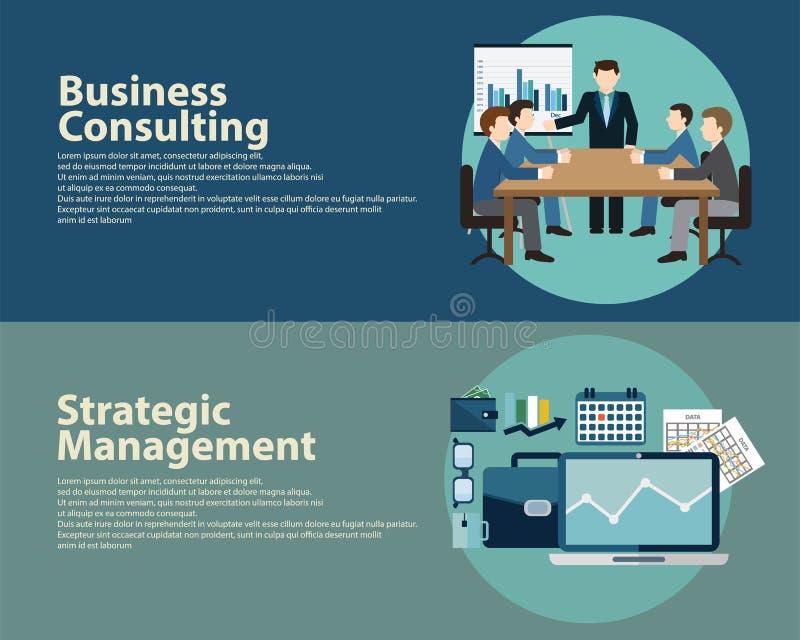 Плоская концепция управления стратегии успеха в бизнесе стиля и советовать с Установленные шаблоны знамен сети иллюстрация штока