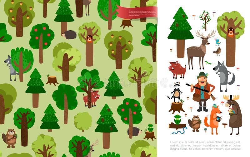 Плоская красивая концепция леса бесплатная иллюстрация