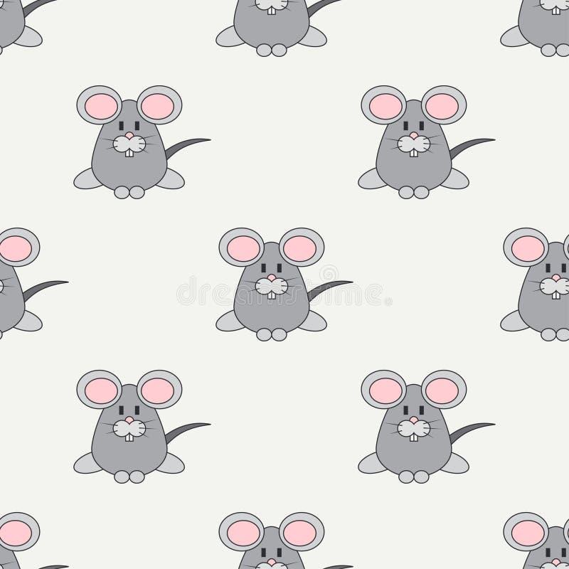 Плоская линия животное для продуктов младенца - мышь безшовной картины вектора цвета милое Тип шаржа Doodle детей azure иллюстрация штока