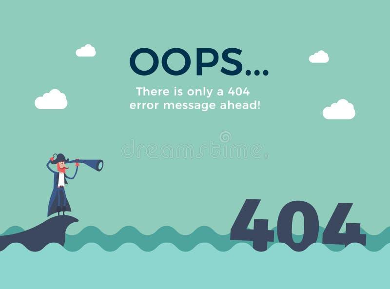 Плоская линия концепция для ошибки 404 страницы найденной Vector предпосылка иллюстрации с плаванием пирата в море иллюстрация штока