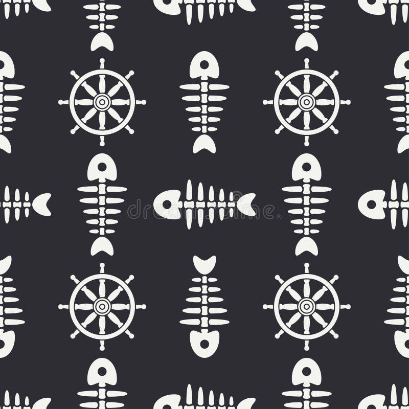Плоская линия косточка рыб океана картины monochrome вектора безшовная, скелет с рулевым колесом Ретро стиль шаржа Череп иллюстрация вектора