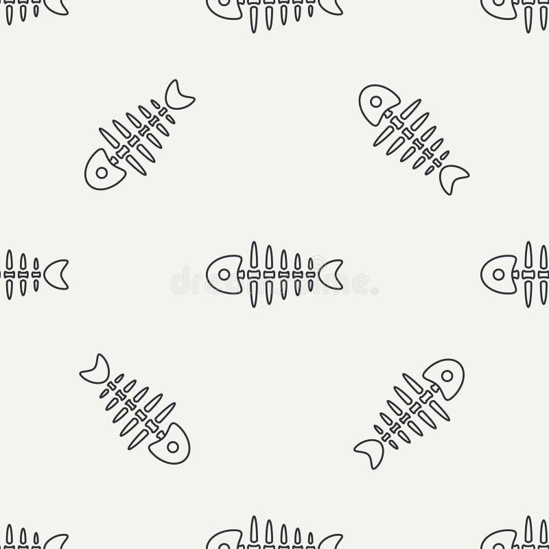 Плоская линия косточка рыб океана картины monochrome вектора безшовная, скелет Упрощенное ретро Ребяческий стиль шаржа Череп иллюстрация штока