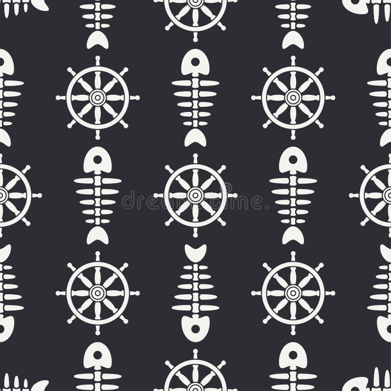 Плоская линия косточка рыб океана картины monochrome вектора безшовная, скелет с рулевым колесом Ретро стиль шаржа Череп иллюстрация штока