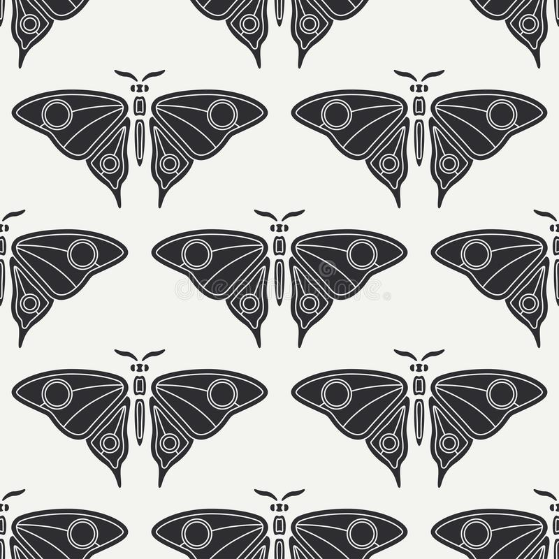 Плоская линия фауна живой природы картины вектора безшовная, бабочка Упрощенный ретро стиль шаржа насекомое пива инсектология иллюстрация штока
