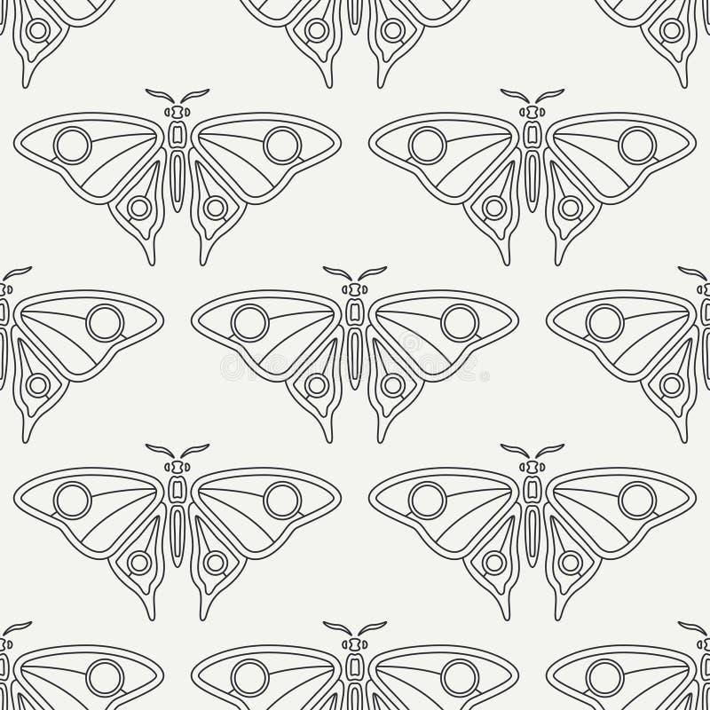 Плоская линия фауна живой природы картины вектора безшовная, бабочка Упрощенный ретро стиль шаржа насекомое пива инсектология иллюстрация вектора