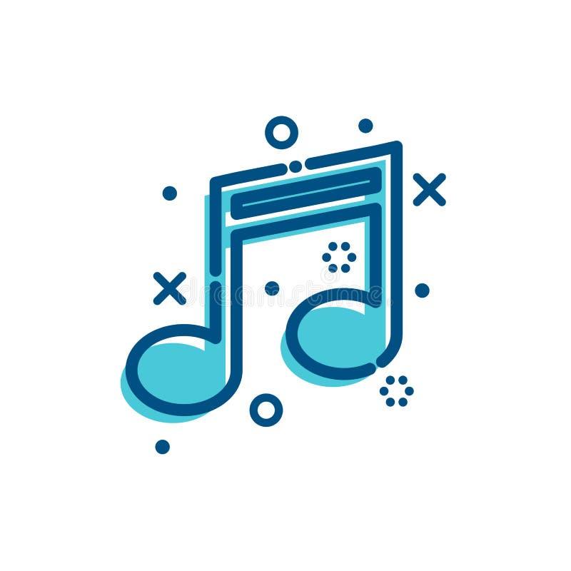 Плоская музыка значков плана иллюстрация вектора