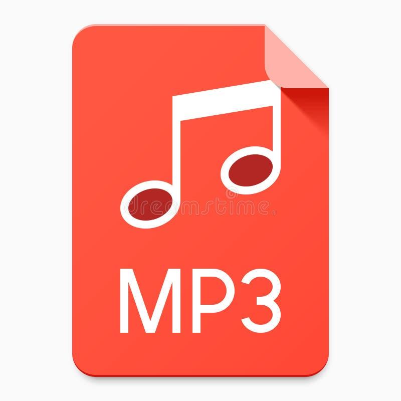 Плоская пиктограмма типа файла стиля MP3 иллюстрация вектора