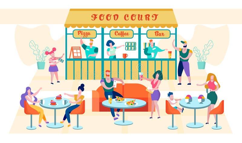 Плоская пицца надписи фуд-корт, кофе, Адвокатура бесплатная иллюстрация