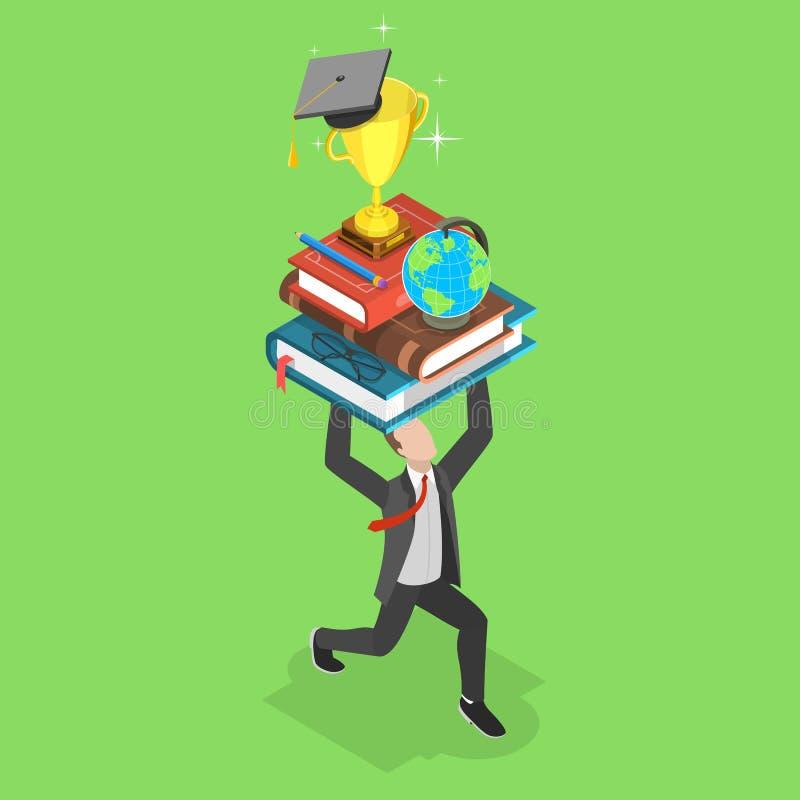 Плоская равновеликая концепция вектора онлайн образования, обучения по Интернету, webinar бесплатная иллюстрация