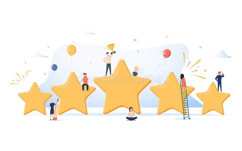 Плоская равновеликая концепция 5 звезд, самая лучшая оценка вектора, обратная связь с клиентом, положительный обзор Место награды иллюстрация штока