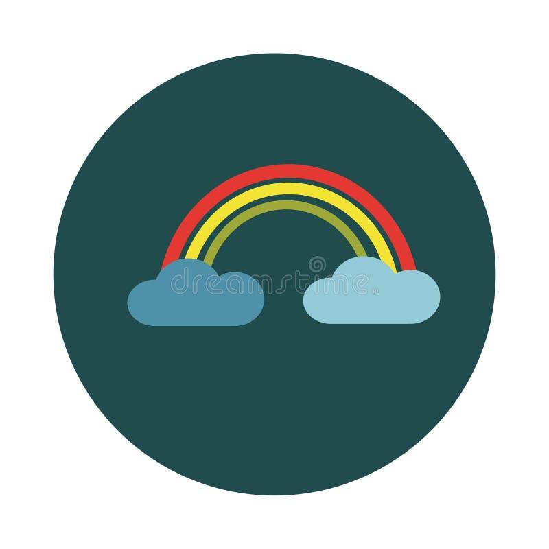 Плоская радуга в облаках на белой предпосылке иллюстрация вектора