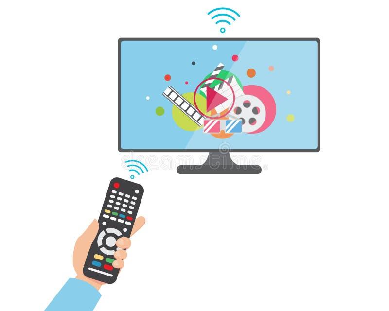Плоская рука держа дистанционное управление к умному ТВ иллюстрация штока