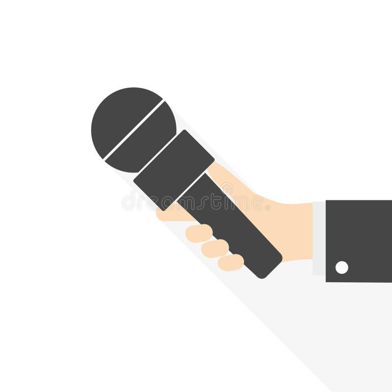Плоская рука интервью концепции иллюстрации дела вектора дизайна держа микрофон иллюстрация вектора