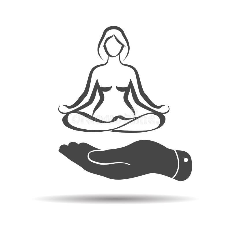 плоская рука показывая элегантную женщину в значке силуэта представления йоги внутри бесплатная иллюстрация