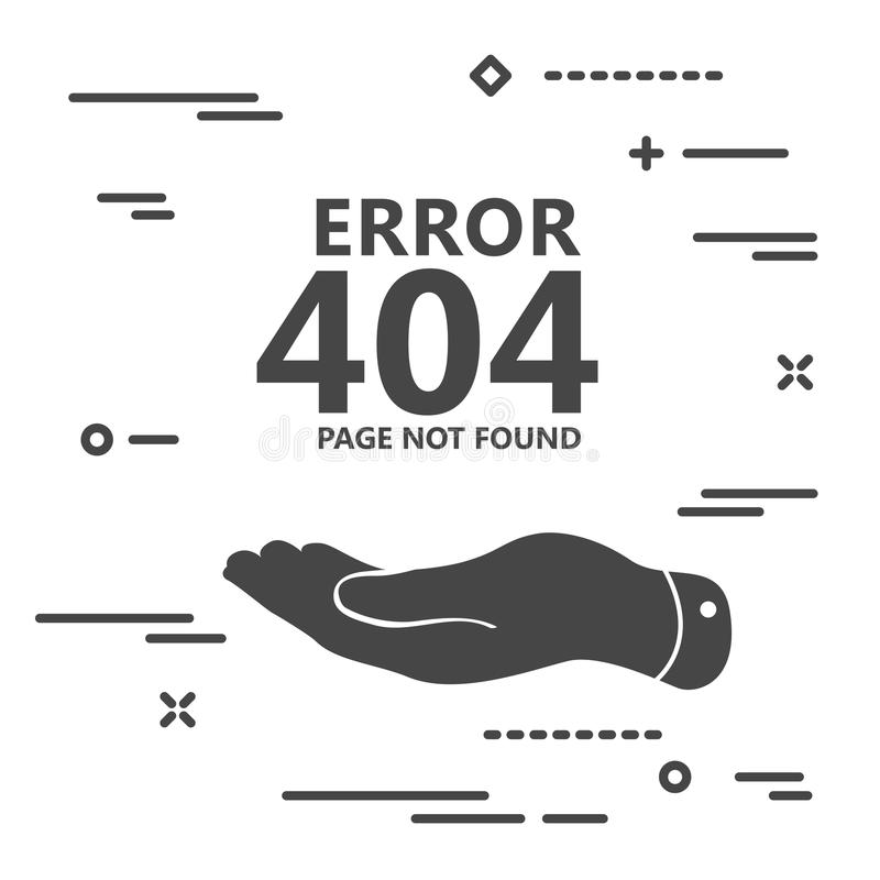 плоская рука представляет иллюстрацию i страницы 404 ошибок найденную иллюстрация вектора