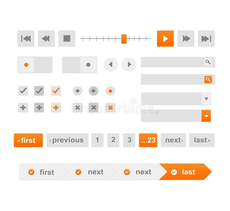 Плоская сеть и передвижные элементы дизайна, кнопки, значки иллюстрация штока
