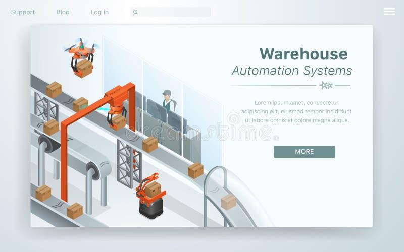 Плоская система автоматизации склада мультфильма сети бесплатная иллюстрация