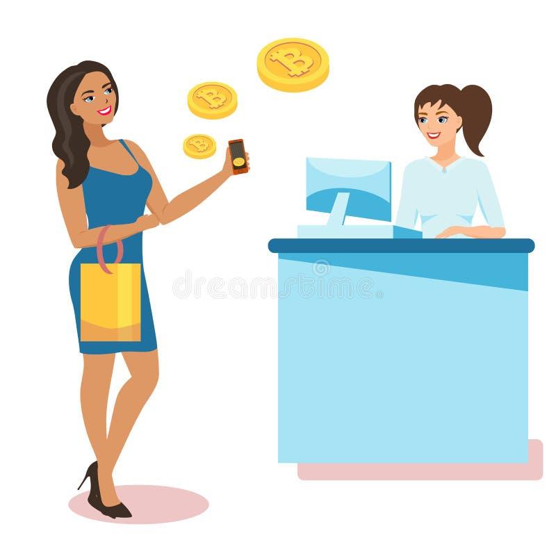 Плоская современная идея проекта технологии cryptocurrency, обмена bitcoin, мобильного банка Девушка держит смартфон бесплатная иллюстрация