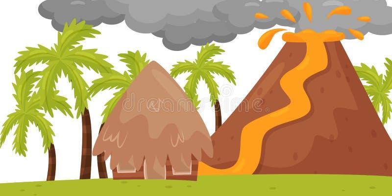 Плоская сцена вектора вулканического извержения Горячая лава пропуская к небольшому дому Ландшафт с пальмами бедствие естественны иллюстрация вектора