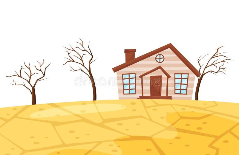 Плоская сцена вектора засухи Небольшой живущий дом, сухие деревья и треснутая земля катастрофа экологическая бедствие естественны бесплатная иллюстрация