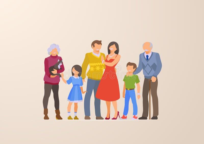 Плоская счастливая иллюстрация вектора образа жизни портрета семьи Дети, родители, деды Характер воспитания: мать, отец иллюстрация вектора