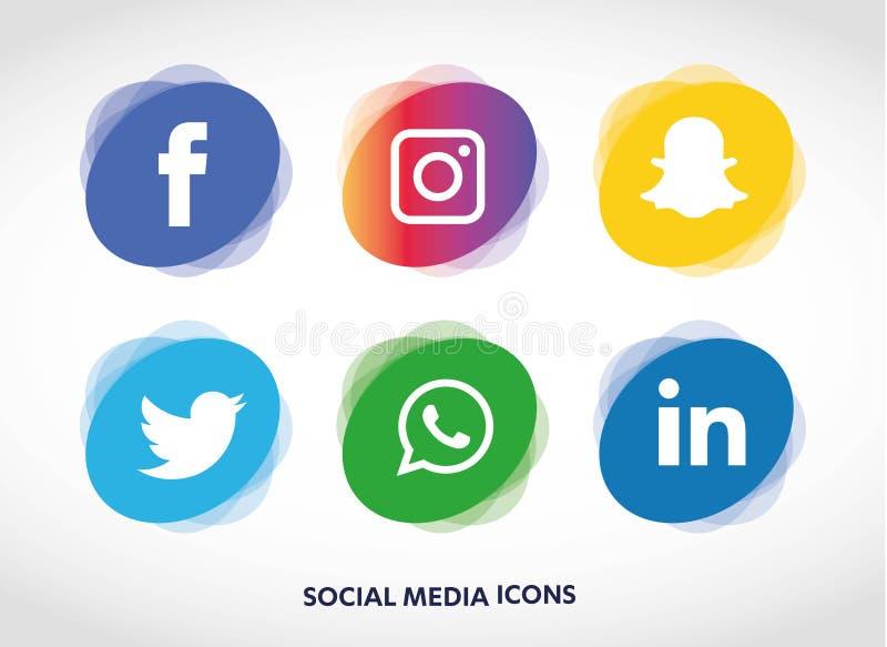 Плоская технология значков, социальные средства массовой информации, сеть, концепция компьютера Абстрактная предпосылка с группой иллюстрация штока