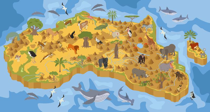 Плоская флора и фауна 3d равновеликая Африки составляют карту элемент конструктора бесплатная иллюстрация