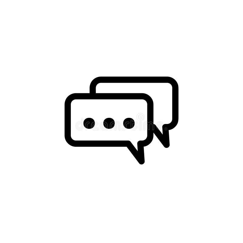 Плоская эмблема дизайна с пузырями речи в черно-белом Плоский дизайн значка иллюстрация штока