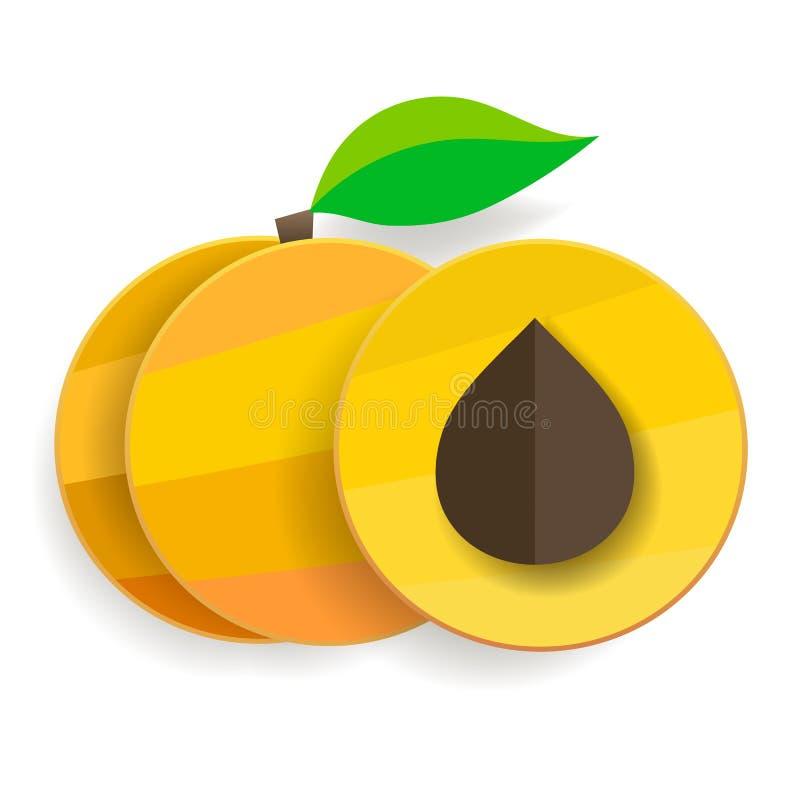 Плоские абрикосы в разделе и целом с листьями иллюстрация штока