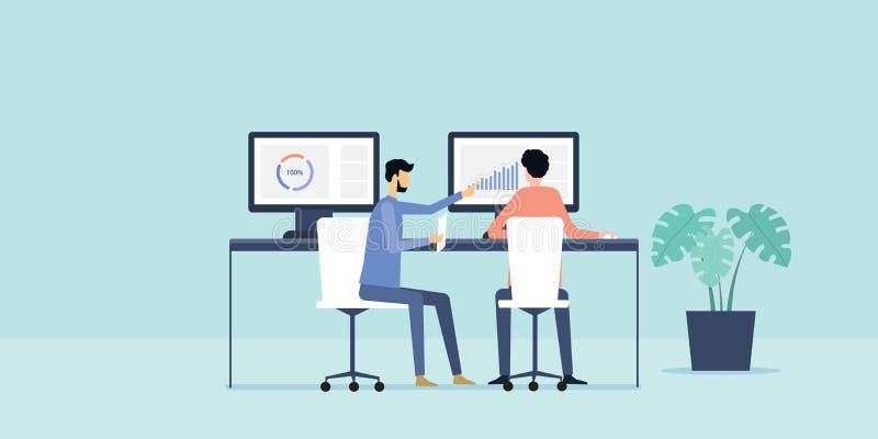 Плоские бизнесмены аналитика иллюстрации 2 и контролировать вклад финансов на отчете о монитора бесплатная иллюстрация
