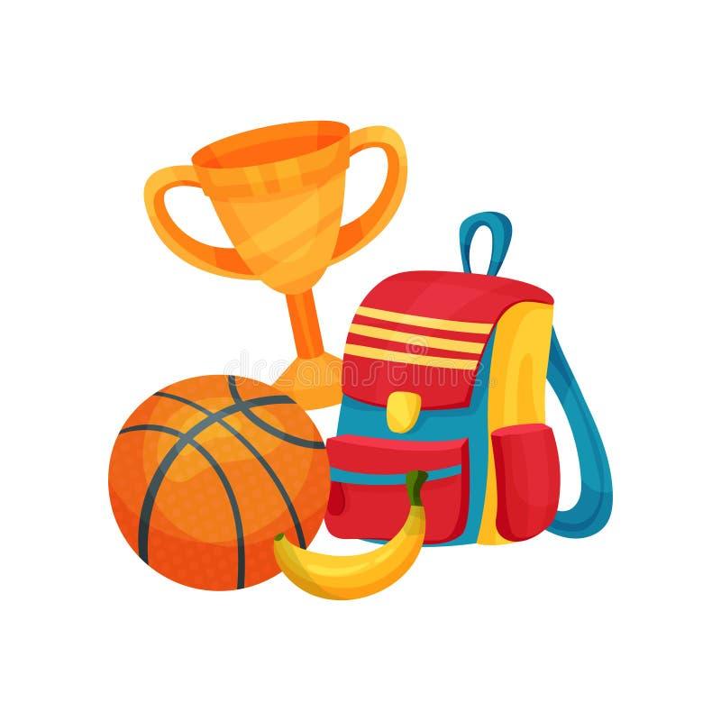 Плоские детали вектора связали к школе и теме образования Золотая чашка, шарик баскетбола, красочный рюкзак и банан иллюстрация штока