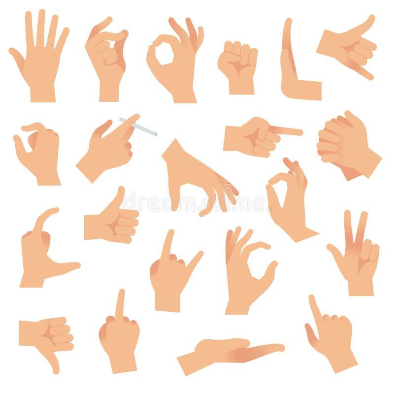 Плоские жесты рукой Указывать человеческий жест пальца, открытый сигнал рукой Собрание вектора знаков внимания связи руки бесплатная иллюстрация