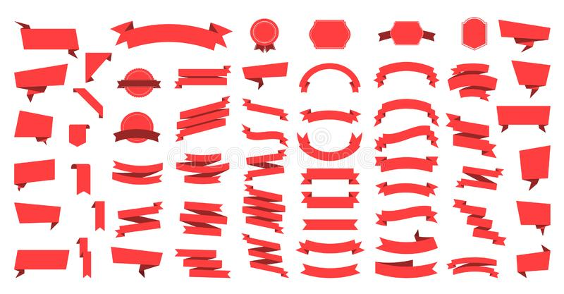Плоские знамена лент вектора плоско изолированные на белой предпосылке, наборе иллюстрации лент Вектор ленты бесплатная иллюстрация