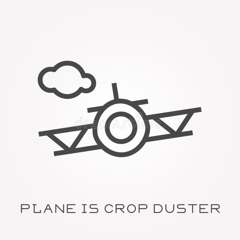 Плоские значки вектора с самолетом опылитель полей бесплатная иллюстрация
