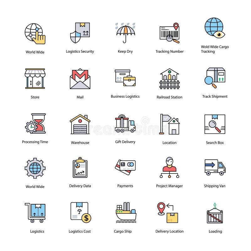 Плоские значки установленные поставки снабжения бесплатная иллюстрация