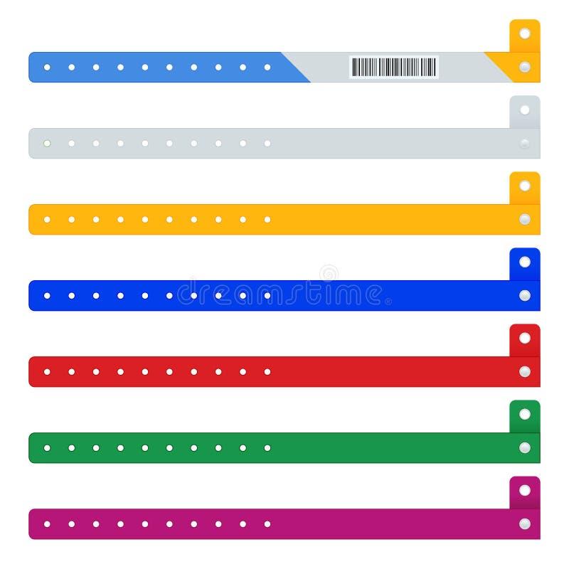 Плоские иконки из цветных виниловых браслетов ручной ID фестиваль или светящиеся неон дешевые пластиковые браслеты, изолированные иллюстрация вектора