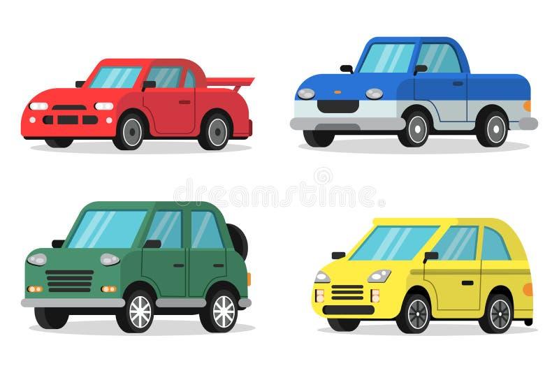 Плоские иллюстрации автомобилей в ортогональной проекции иллюстрация вектора