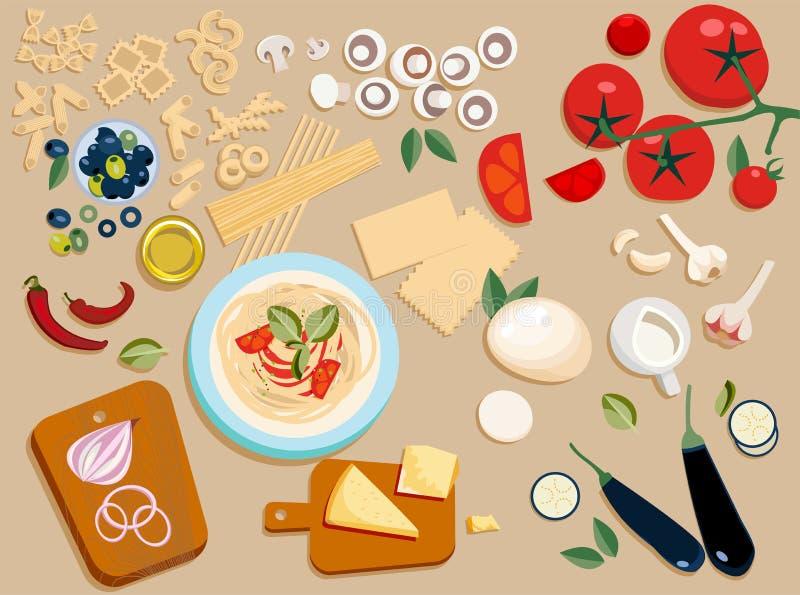 Плоские ингредиенты макаронных изделий установили весь и отрезок в части: оливки, грибы, томат, пармезан, моццарелла, чили, масло иллюстрация вектора