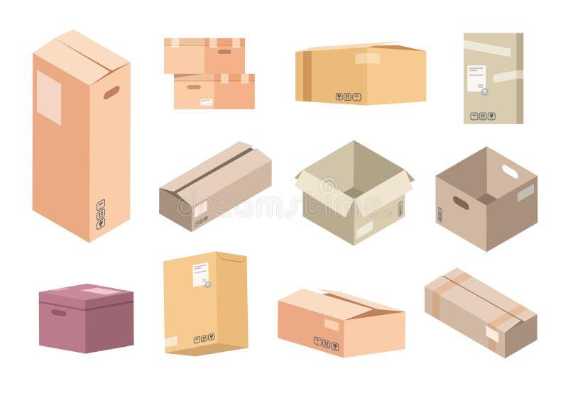Плоские картонные коробки Доставка пакетов коробки, открытые и закрытые изолированные равновеликие пакеты, пакеты склада и товары иллюстрация вектора