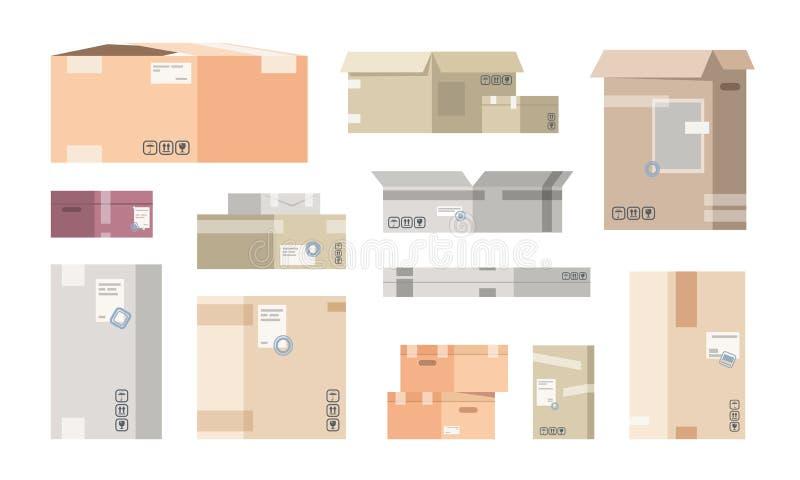 Плоские картонные коробки Пакеты склада коробки, пакеты груза 3D, изолированные товары доставки Столб коробки вектора различный иллюстрация вектора