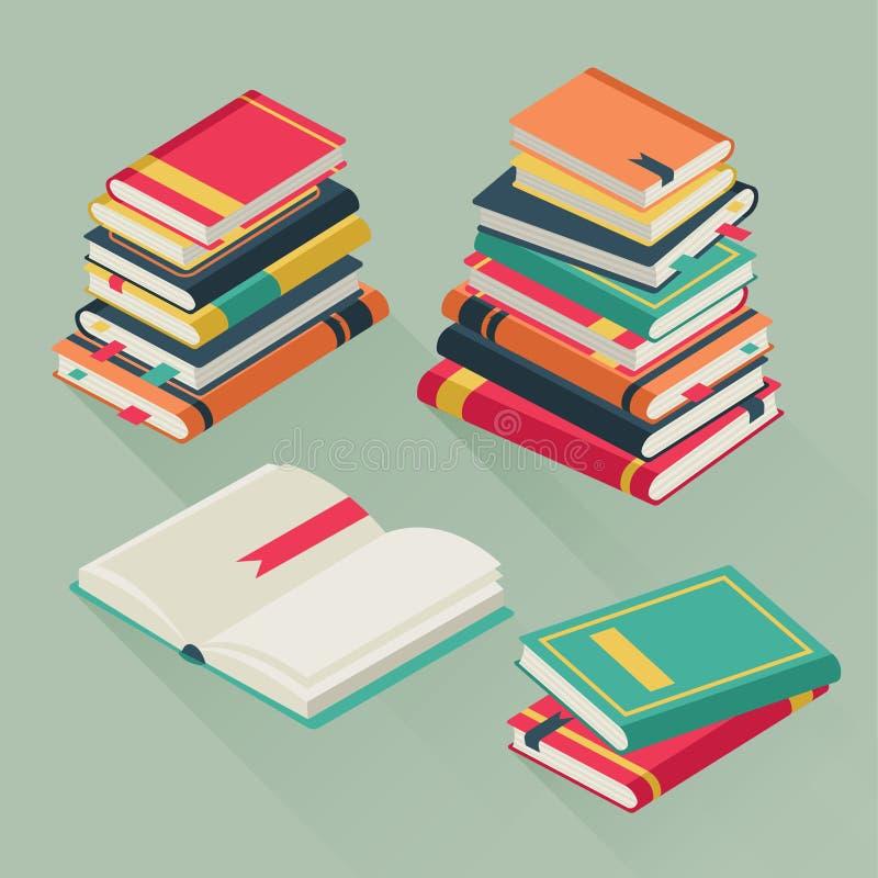 Плоские книги кучи Штабелированные учебники, вектор стога книги урока образования школьной библиотеки истории литературы исследов иллюстрация вектора