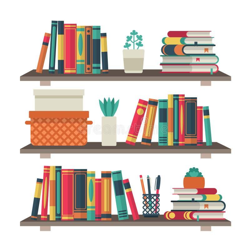 Плоские книжные полки Книга полки в библиотеке комнаты, векторе bookcase школы исследования стены полки офиса книги чтения внутре иллюстрация вектора