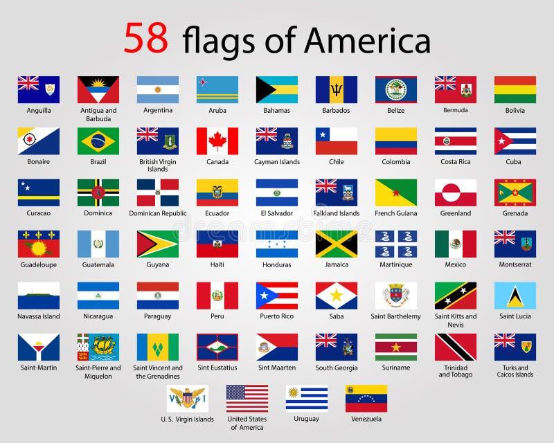 Плоские круглые флаги Америки - полного вектора CollectionVector бесплатная иллюстрация