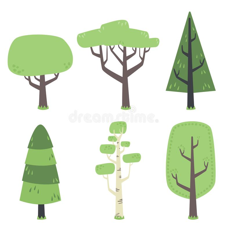 Плоские лесные деревья иллюстрации с зеленым комплектом кроны иллюстрация штока